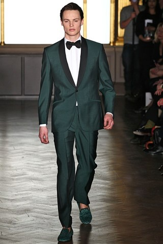 Emerald Green...Pantone's 2013 color of the year | Groom Fashion Inspiration from London Collections: Men Autumn/Winter 2013-14 (BridesMagazine.co.uk)