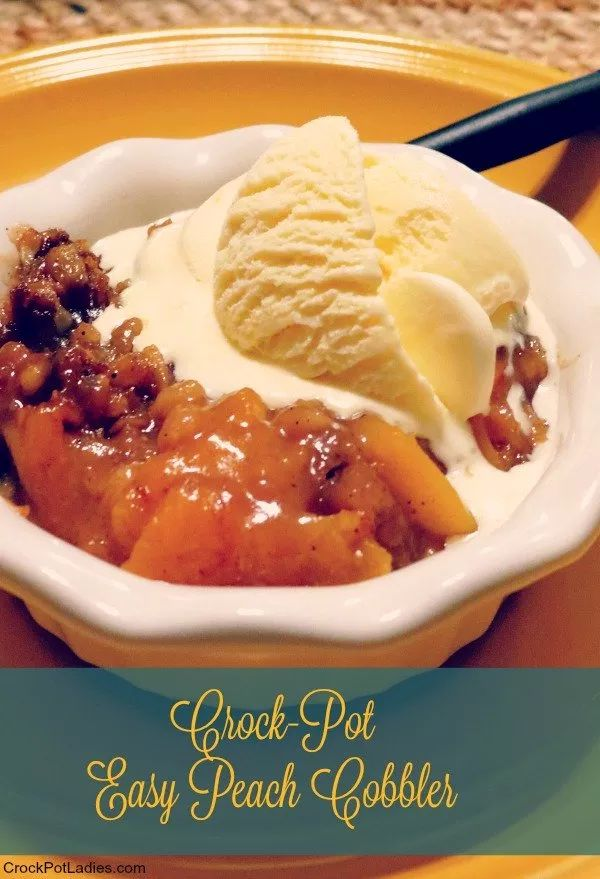 Crock-Pot Easy Peach Cobbler - Take advantage of the seasons fresh peaches with this recipe for Crock-Pot Easy Peach Cobbler which is so simple to make and tastes amazing plain or served with a scoop of vanilla ice cream! The perfect summer dessert! | recipe from CrockPotLadies.com