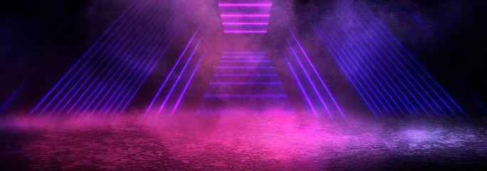 Background Of An Empty Dark Room Empty Walls Neon Light Smoke