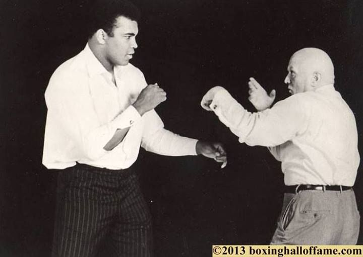 """""""January 17 - One of the biggest days in the history of boxing - two of the most legendary figures were born - Muhammad Ali and Cus D'amato. Ali 1942 --- Cus 1908. You can't get better that. Here's a great shot from the set of, """"AKA Cassius Clay."""" Terrific documentary on, """"The Greatest."""""""" -BOXING HALL OF FAME LAS VEGAS"""