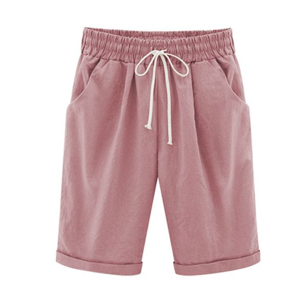 Plus Size Summer Woman Half Pants Mid Waist Drawstring Lady Casual Haren Short  Trousers Pink | Boho style shorts, Knee length shorts, Casual
