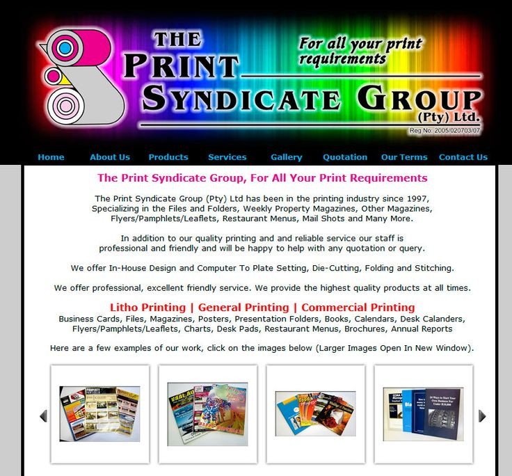 Website Design By DRAGAN GRAFIX - The Print Syndicate Group For All Your Print Requirements - Litho Printing General Printing, Commercial Printing, In-House Design, Computer To Plate Setting, Die-Cutting, Folding, Stitching, Excellent Service. http://www.printsyndicate.co.za
