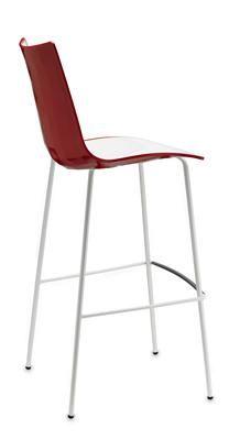 EZfurn - STOOL ZEBRA BICOLORE 4 LEG WHITE 800 Red