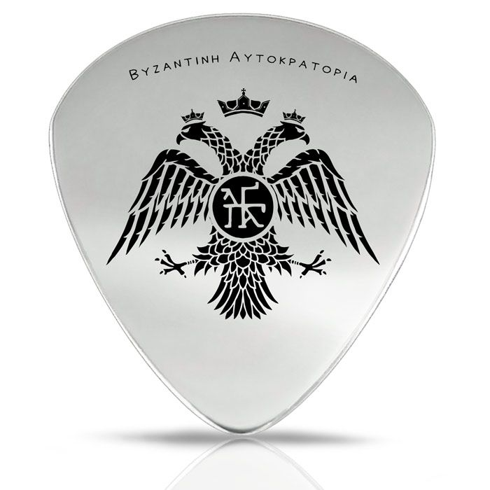 Our unique collection includes a guitar pick with the depiction of the double - headed eagle, which is one of the most important symbols of the Byzantine history.
