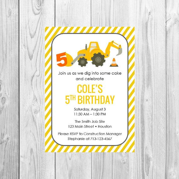 Little Digger Birthday Party Invitation