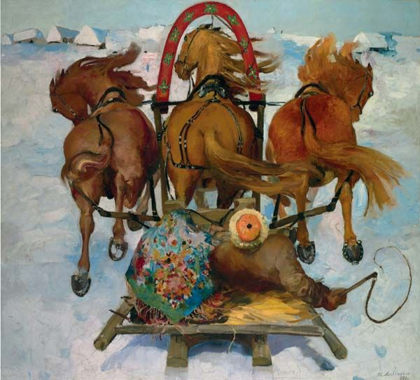 Filipp Andreevich Malyavin (Russian 1869–1940) [Impressionism, Expressionism, Art Nouveau] Sleigh Rides, 1933.