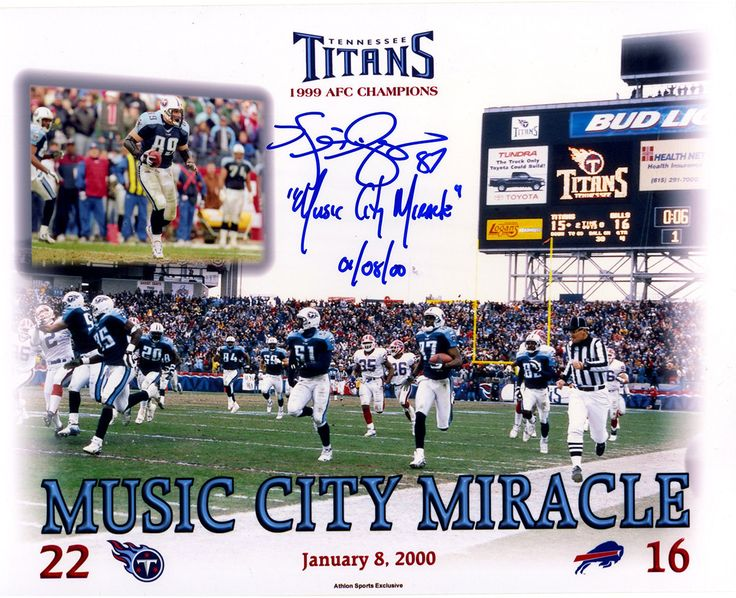 Kevin Dyson Signed Tennessee Titans Music City Miracle 8x10 Photo w/ 'Music City Miracle , 01/08/00'Insc. ( Athlon Cert Only)