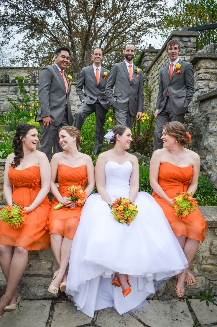 orange bridesmaids and grey wedding party #neenbeanphotography | https://www.facebook.com/NeenBeanPhotography