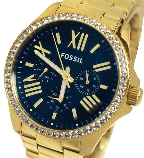 Women's Fossil Watch AM 4497 Cecile-navy blue and gold glam!!