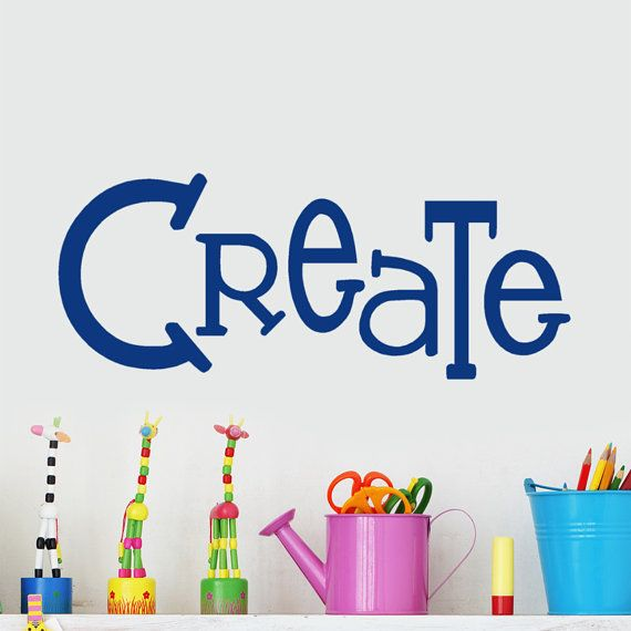 Create Wall Decal words Vinyl wall sticker for kids art display, Creativity center, playroom, craft room, classroom decorations
