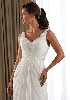 Chiffon Sheath/Column V-neck Criss Cross Court Train Wedding Dress With Applique picture 3