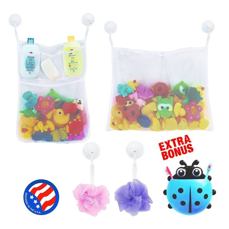 2 x Mesh Bath Toy Organizer + 6 Ultra Strong Hooks + Cute Blue Ladybug Kids Toothbrush Holder – Perfect Toy Storage Net for Baby Bath Toys - This Mesh Bath Toy Organizer Makes Toy Storage Easy