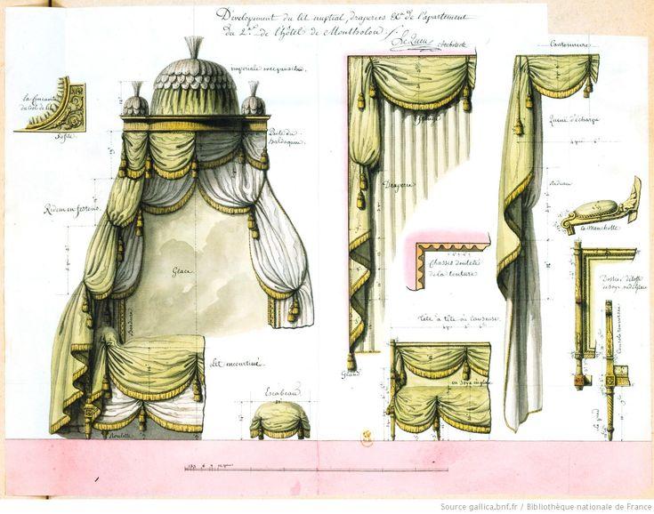Dévelopement [sic] du lit nuptial, draperies... de l'apartement [sic] du 2e. de l'hôtel de Montholon : [dessin] / Le Queu architecte