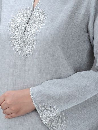 Grey Embroidered Round Neck Linen Kurta with Gota Patti Women Kurtas A Touch of Elegance and pants bead work embroidery Online at Jaypore.com