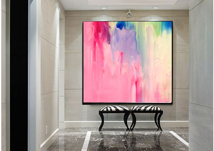 "Vivid abstract paintings produced on commission by Anne-Maree Wise. This piece is called ""Carnival"""
