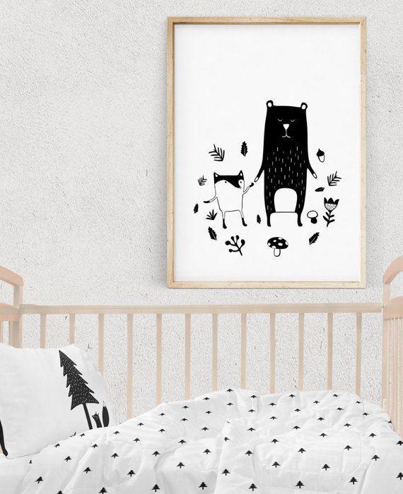Scandinavian Woodland Animal Prints Wall Art for Scandinavian Nursery//Kids Room