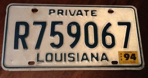 Louisiana State Private License Plate Automobile Green & White Stickered 1994 Sold $11.25