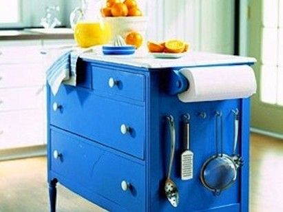 A dresser into a kitchen island. So neat and fun!: Color, Old Dressers, Small Kitchens, Kitchens Islands, Kitchens Carts, Dressers Islands, Kitchen Islands, Chest Of Drawers, Paper Towels