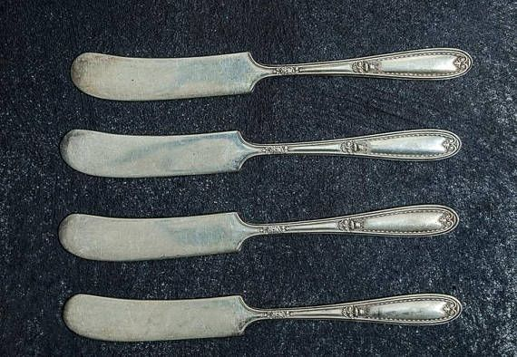 Set of 3 Vintage Butter Knives Silverware-Food Photography