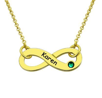 Gold Infinity Name Necklace with Birthstone