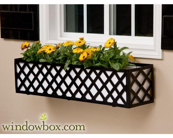 The Lattice Window Box Cage (Square Design) - Wrought Iron Window Boxes - Window Boxes - Windowbox.com