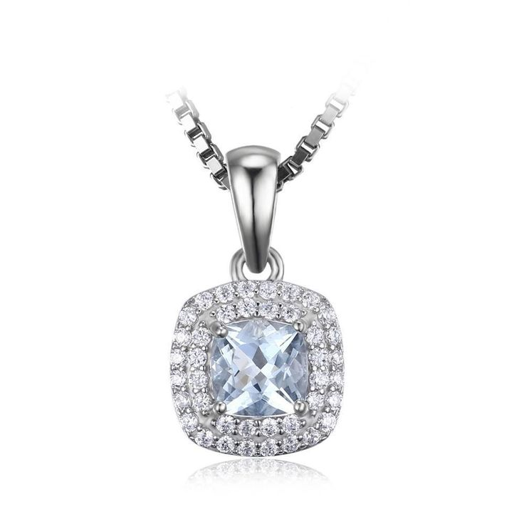 JewelryPalace Cushion Cut 0.8ct Natural Aquamarine Pendant Necklace 925 Sterling Silver 18 Inches XmErqn