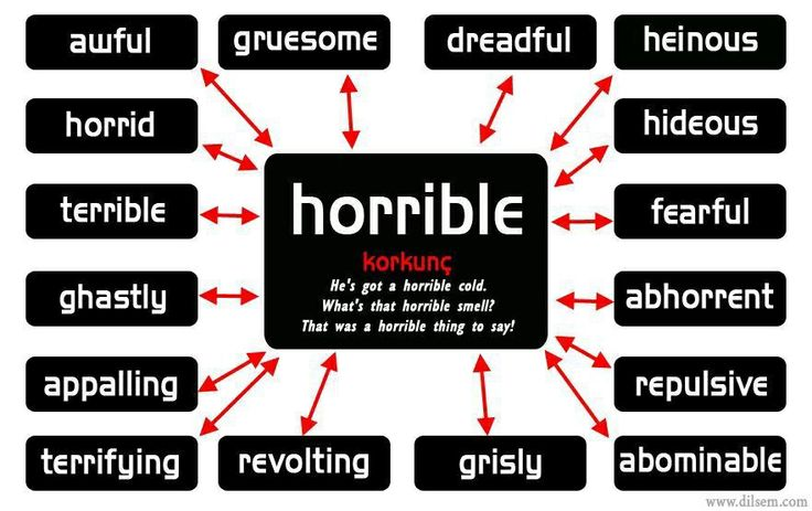 """Other ways to say """"horrible""""        Repinned by Chesapeake College Adult Ed. We offer free classes on the Eastern Shore of MD to help you earn your GED - H.S. Diploma or Learn English (ESL).  www.Chesapeake.edu"""