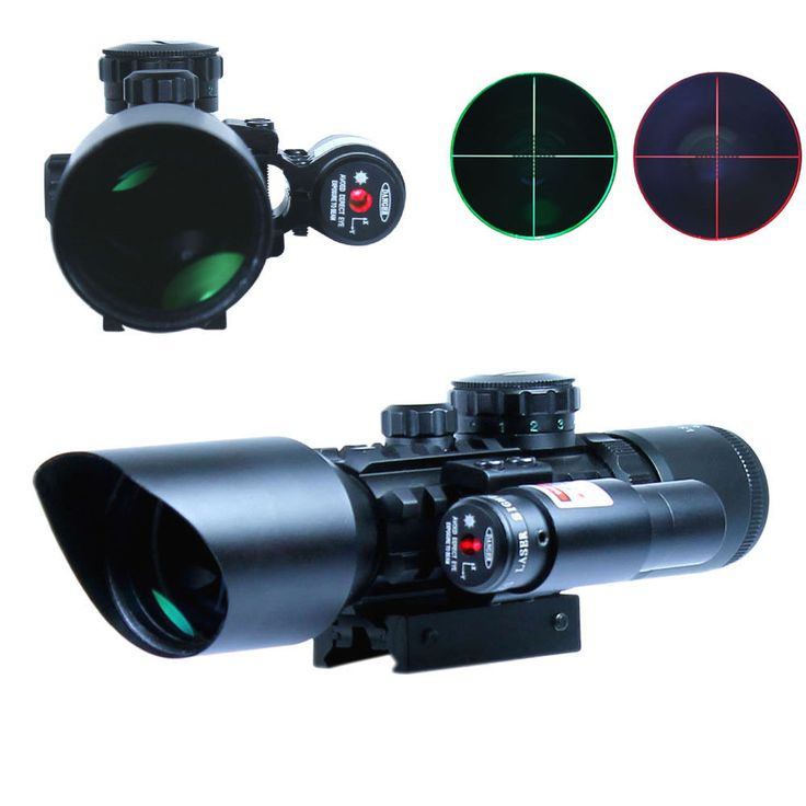 3-10x40 Hunting Riflescope Red/Green Dot Laser Scopes 20mm Rail Sniper Tactical Optics Reflex Airsoft Air Guns Holographic Sight
