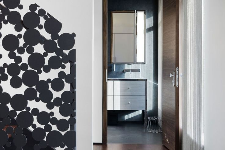 Interior:Adorable Black Polka Dots Staircase Near Modern Bathroom Ideas Of Iron Lace Modern Mansion Style In Canada Make Great Interior Design Ideas And Elegant Living Rooms Also Make Cool The Mension House Modern Mansion Style with Adorable Black Polka Dots Staircase in Canada