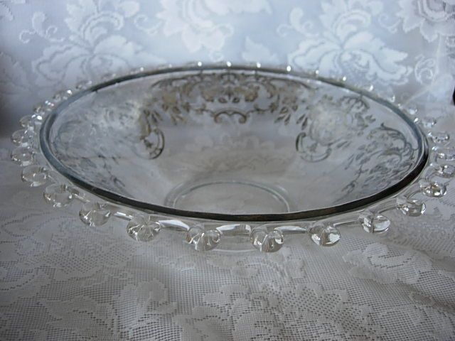 1940's HEISEY Crystal Lariat Blown Glass Serving Bowl - Sterling Silver Overlay #HEISEY