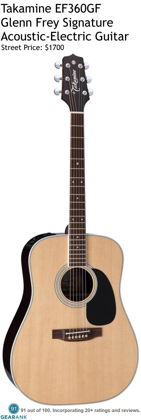 Takamine EF360GF Glenn Frey Signature Acoustic-Electric Guitar. This is a direct reproduction of Glenn Fry's #1 Takamine that he has used on tour for many years. It features a Solid Spruce top, Solid Rosewood back and Laminated Rosewood sides. For a detailed guide to Acoustic Guitars see https://www.gearank.com/guides/acoustic-guitars