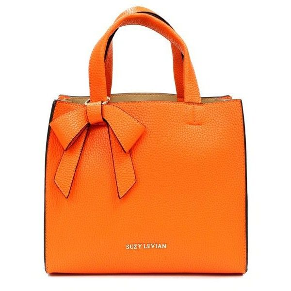 Women's Suzy Levian Pebbled Faux Leather Satchel with Bow (€100) ❤ liked on Polyvore featuring bags, handbags, orange, bow purse, vegan leather handbags, orange satchel handbag, vegan hand bags and satchel purses