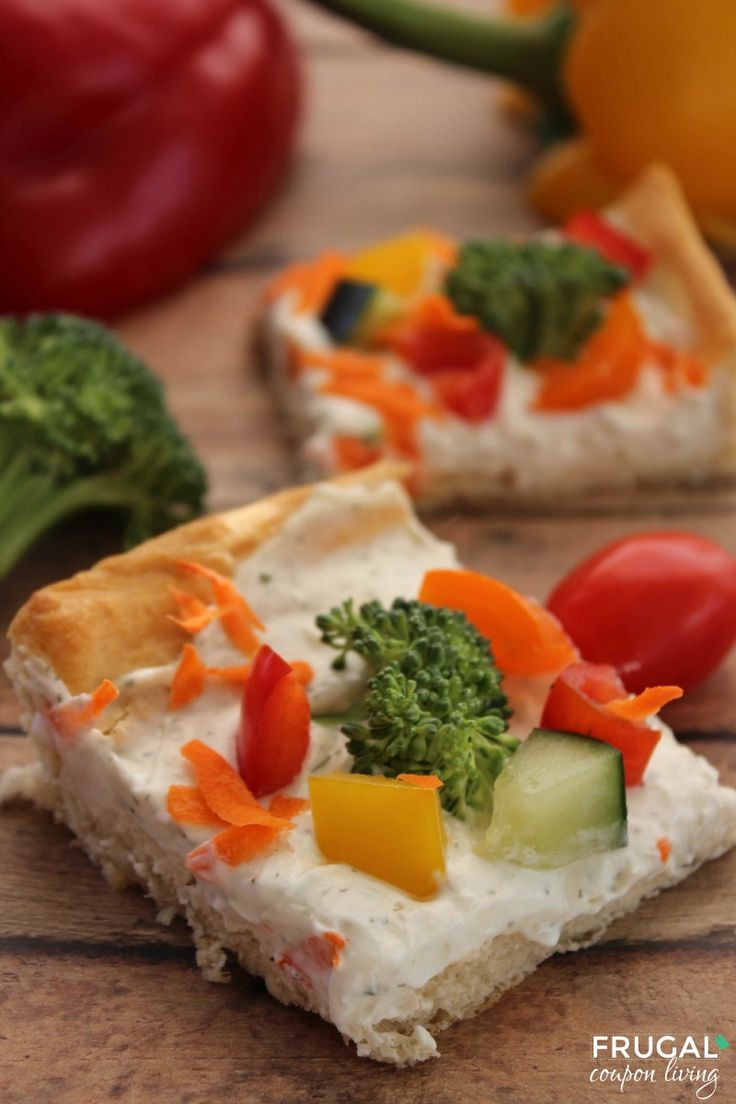 Veggie Pizza with Crescent Rolls - these are so delicious! Recipe on Frugal Coupon Living.