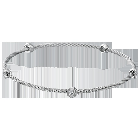ALOR 18kt white gold, grey stainless steel cable and diamond slip-on bangle ($450) Call Diamond District at  239.947.3434