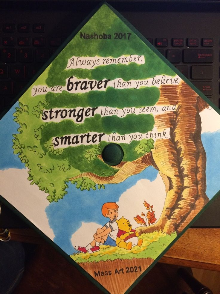 Grad cap design featuring Winnie the pooh // follow us @motivation2study for daily inspiration