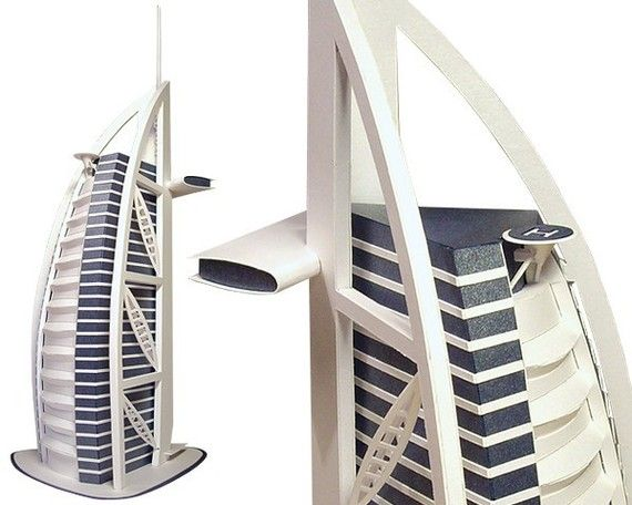 Burj al Arab, paper model kit of Dubai skyscraper hotel || height 13 inches = 33 cm || completely white or white with blue accents