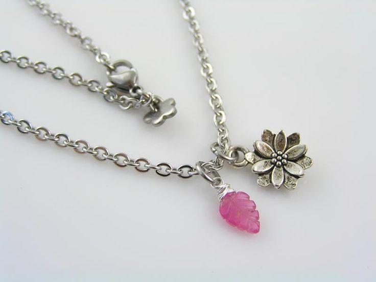 Pink Sapphire Necklace with Lotus Flower Charm, Lotus Flower Necklace, Yoga Jewelry, Gift Idea, Charm Necklace, Gem Necklace, Gem Jewelry by ClassicMinimalist on Etsy