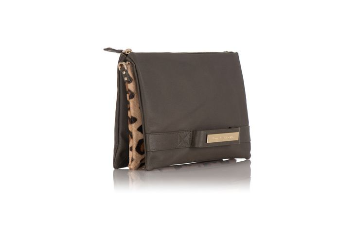 Tan and Brown Caramel Leopard and Khaki Clutch – Tan & Brown