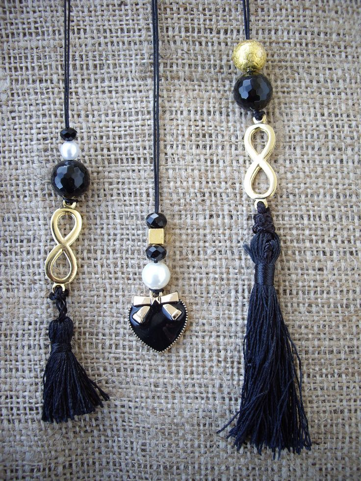 Necklaces with tassels and charms. Price: 7 € each Code: 23125/1   #jewellery #jewelleryfromourheart #thessaloniki #necklace #black #newcollection #Greece #trend #jewelry #beads #tassels #shopping #gift