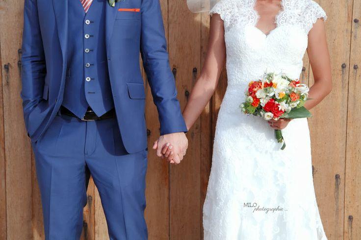 vrai mariage dentelle orange bleu