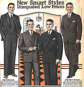 Pinstripes are in, and the cuts of suits are quite similar to modern men's suits