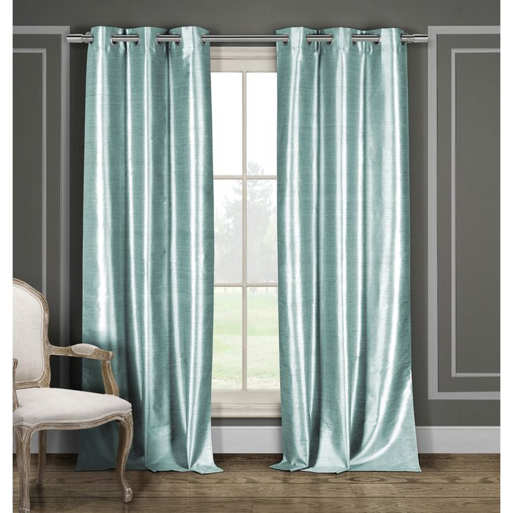 Duck River Solid Faux Silk Grommet Curtain Panel Pair 84″ inches in Brown (As Is Item) (Brown – Casual/Contemporary/MODERN)