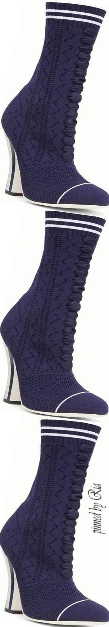 Fendi Navy Blue Fabric Boot l Ria