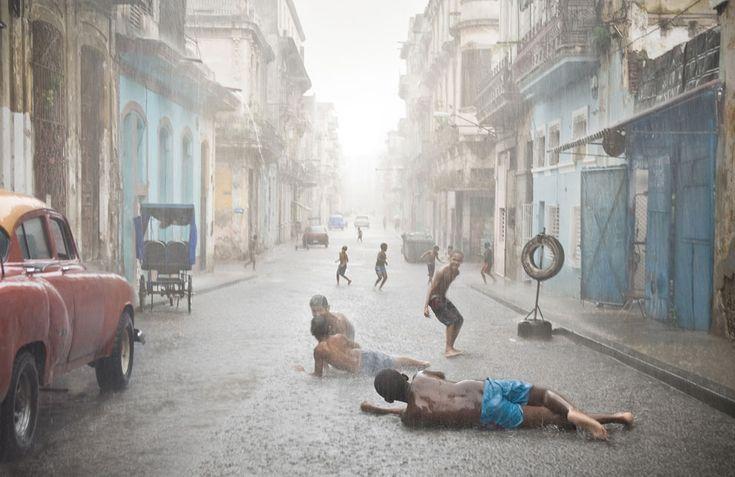 Sony world photography awards, Havana Cuba - kids playing in the rain.
