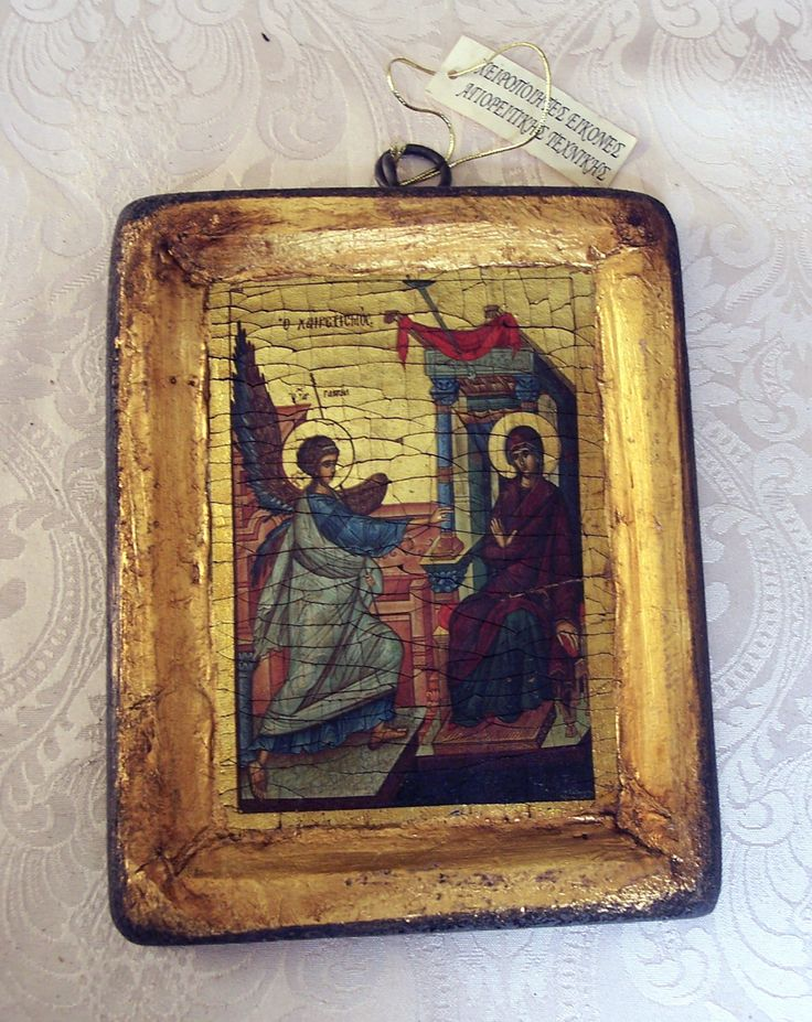 Orthodox greek religious icon with mount Athos style, vintage and byzantine style with Virgin Mary and angel Gabriel (Annunsiation) by GardenOfLinda on Etsy