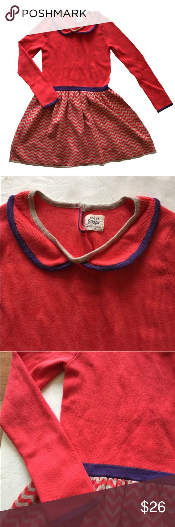 Mini Boden Red Sweater Dress Red long-sleeved sweater dress; size is 7/8Y. Mini Boden Dresses Casual