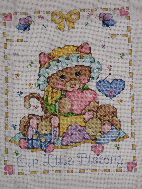 Hand-stitched Baby Cross Stitch