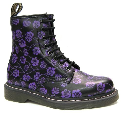 Wish I never gave away my black Docs... Dr Martens - Black And Purple Gothic Rose Boot (8 Eyelet) - AL40