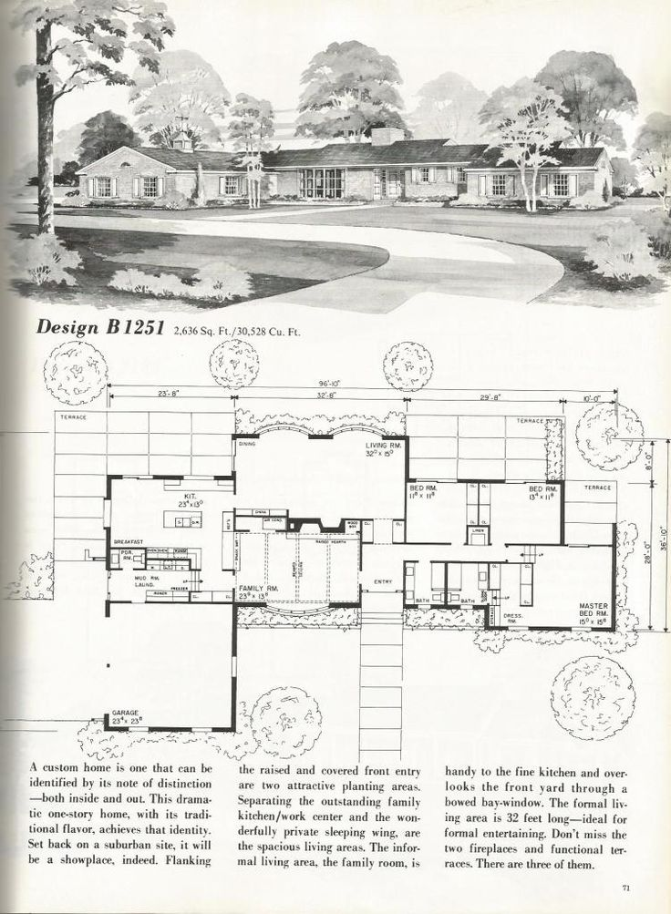 Vintage house plans mid century homes vintage homes 1 for Mid century floor plans