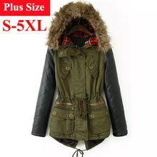 Winter Jacket Women Parka Abrigos Mujer 2015 Chaqueta Mujer de Invierno Plus Size Fur Hooded PU Leather Sleeve Winter Coat Women(China (Mainland))
